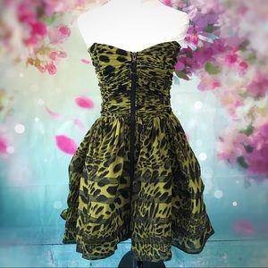 Betsey Johnson-Green Black Leopard Party Dress